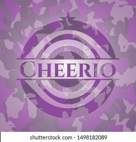 Cheerio pink and purple on camouflaged texture. Vector Illustration. Detailed.