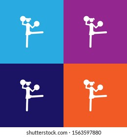 cheerleader color icons. Element of popular american football color icons. Signs, symbols collection icons for websites, web design,