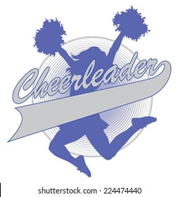Cheerleader Design is an illustration of a cheer design for cheerleaders. Includes a jumping cheerleader and a banner for your name, school name or other text.
