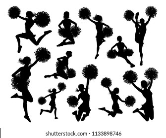 Cheerleader detailed silhouettes with pompoms