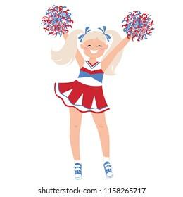 Cheerleader Girl in bright uniform. Isolated vector illustration.