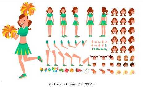 Cheerleader Girl Vector. Animated Character Creation Set. Sport Fan Dancing Cheerleading Woman. Full Length, Front, Side, Back View, Accessories, Poses, Face Emotions, Gestures. Isolated Flat Cartoon