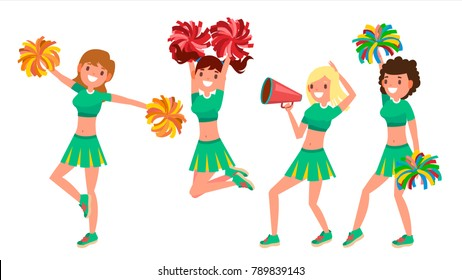 Cheerleader Girls Vector. Dancing Cheerleader In Action. Sport Fan Uniform. Football Support Female Perform. American Soccer Fans Cartoon Character Illustration