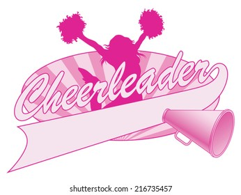 Cheerleader Jump Design is an illustration of a cheer design for cheerleaders. Includes a jumping cheerleader, megaphone and a banner for your name, school name or other text.
