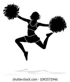 Cheerleader jumping detailed silhouette with pom poms