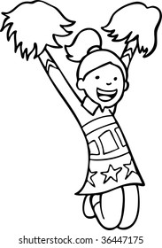 cheerleader line art