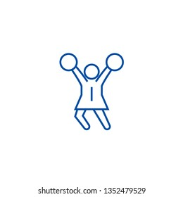 Cheerleader line icon concept. Cheerleader flat  vector symbol, sign, outline illustration.