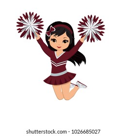 Cheerleader in maroon and silver uniform with Pom Poms. Vector illustration isolated on white background.