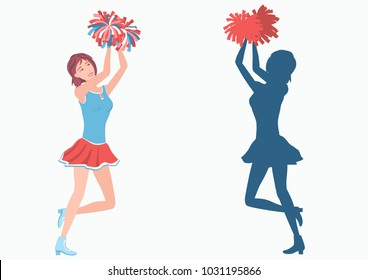 Cheerleader with pom-poms and her silhouette. Vector illustration EPS-8.