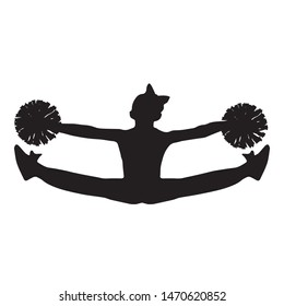 Cheerleader with pompons, silhouette of a girl from the cheerleading team