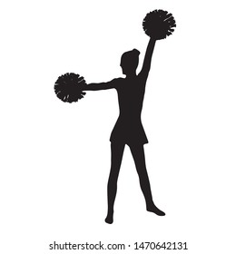 Cheerleader with pompons, silhouette of a girl from the cheerleading team. Cheerleading position arms up and side.