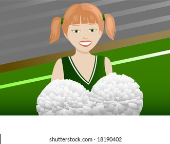 Cheerleader with red pigtails and pom poms.