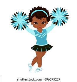 Cheerleader in turquoise uniform with Pom Poms. Vector illustration isolated on white background.