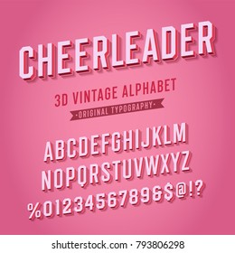 'Cheerleader' Vintage Retro 3D Pink Varsity College Alphabet. Original Athletic Department Typeface. Retro Typography. Vector Illustration.