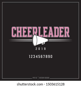 Cheerleader white and pink insignia, Megaphone symbol, Sports logo
