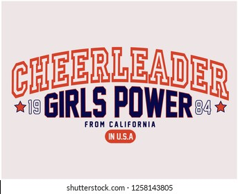 CHEERLEADER,GIRLS POWER,varsity,slogan graphic for t-shirt,vector