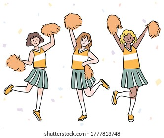 The cheerleaders are wearing uniforms and cheering with form foams. hand drawn style vector design illustrations.