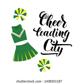 Cheerleading City lettering text. Vector illustration for banner, promotion, signboard, poster, advertising. Sport college team.  Handdrawn pom pom and cheerleading uniform.