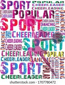 Cheerleading Design. Sport background. Cheerleader magazine. Dancing colorful girl splash paint. Pom Poms,  Silhouette. Vector illustration.