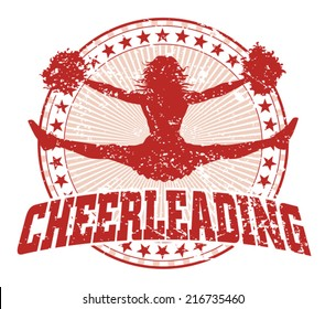 Cheerleading Design - Vintage is an illustration of a cheerleading design in a vintage style with a jumping cheerleader silhouette, circle of stars and sunburst pattern.