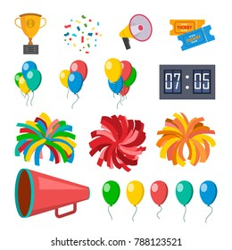 Cheerleading Icons Set Vector. Cheerleaders Accessories. Pompoms, Balloons, Confetti, Megaphone. Isolated Flat Cartoon Illustration