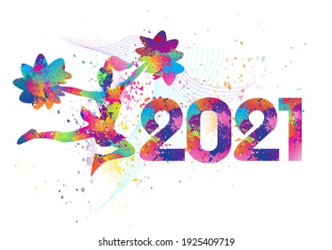 Cheerleading logo design. 2021. Colorful sport background. Vector illustration.