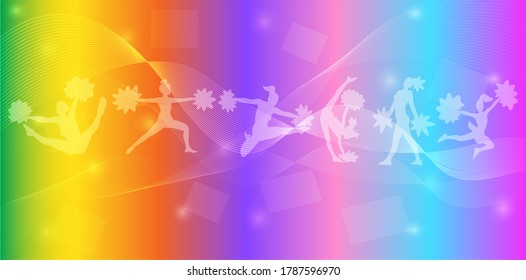 Cheerleading Logo Design. Colorful Sport Background. Website landing page. Template for apps. Vector illustration.
