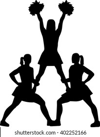 Cheerleading pyramid silhouette