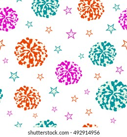 Cheerleading. Seamless pattern with pompoms and stars. Vector illustration