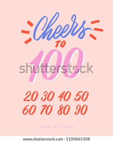 Cheers To 100 Years Fun Happy Birthday Card Idea Hand Drawn Concept For Your