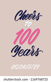 Cheers To 100 Years Happy Birthday Hand Drawn Concept For Your Design Custom