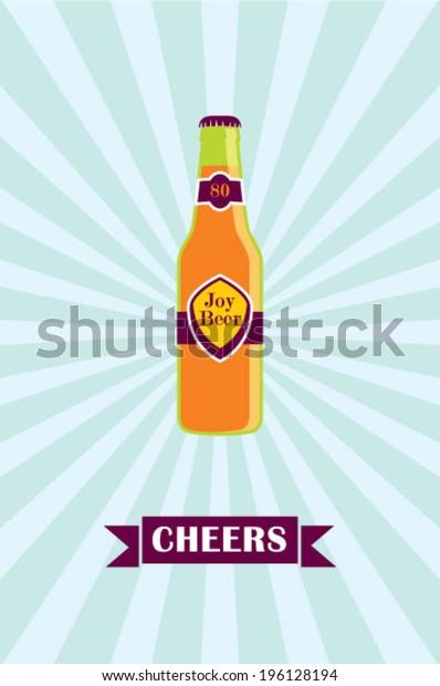 cheers beer bottle poster illustration