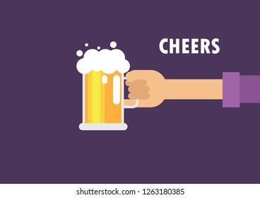 cheers beer mug with hands