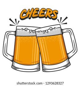 Cheers beer vector illustration