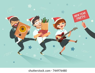 Cheers! Businessmen crowd going to the new year party after work. Corporate event concept. Colorful vector illustration in flat style on sky background
