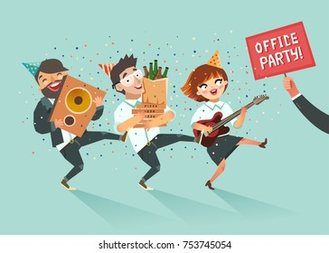 Cheers! Businessmen crowd going to the office party. Corporate event concept. Colorful vector illustration in flat style.