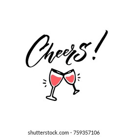 Cheers caption with hand drawn wine glasses. Minimalistic greeting cards design