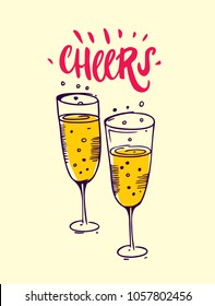 Cheers with hand drawn wine glasses. Greeting cards design.