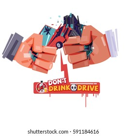 cheers hand with hitting car crash like a beer or alcohol glass. accident from drink and drive. don't drink and drive concept - vector illustration