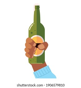 cheers hand holding beer bottle drink liquor vector illustration