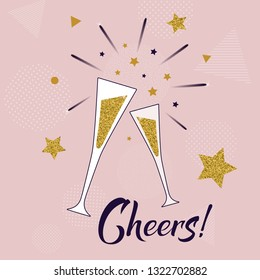 Cheers! hand lettering template with glasses of champagne. Celebration concept on pink background with golden stars and fireworks. Vector illustration. Holiday and birthday Greeting Card