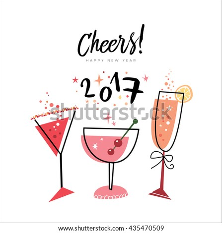 Cheers Happy New Year 2017 Stock Vector (Royalty Free) 435470509 ...