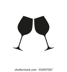 Cheers icon isolated on white background. Two wine glasses icon. Vector illustration.