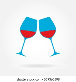 Cheers icon. Two wine glasses with red wine in flat style. Vector illustration.