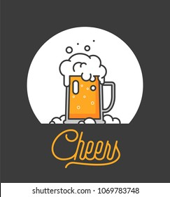 Cheers mate. Glass of beer isolated vector illustration, minimal design. Lager beer icon on white background. Drink beer with your friends. Good for pub menu illustration. Cold beverage on a hot day