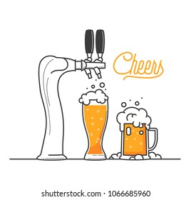 Cheers my friend. Isolated vector illustraion of two glass of beers in a bar and a beer tap. Oktoberfest in Germany. Good for pub menu illustration. Cold beverage on a hot day. Celebrate and drink.