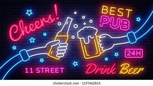 Cheers Neon Banner Vector. Party celebration in pub, neon sign, design template, modern trend design, night neon signboard, night bright advertising, light banner, light art. Vector illustration