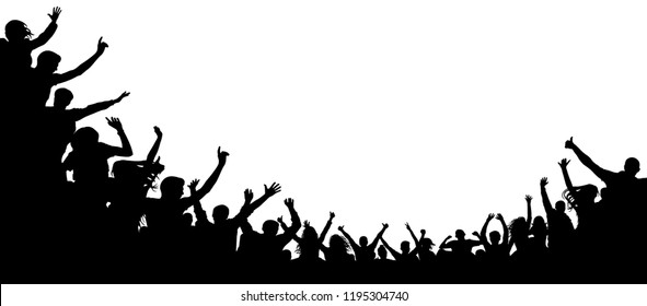 Cheers party, applause. Audience applause hand up. Cheerful people crowd applauding, silhouette vector. Fans dance concert, disco