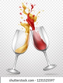 Cheers realistic vector concept with red and white wine splashing, spilling from clinking glass wineglasses 3d illustration isolated on transparent background. Holiday celebration, party booze concept