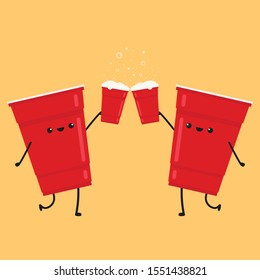 Cheers. Red beer cup character design. wallpaper. ball character.